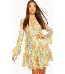 patchwork floral tiered gypsy dress, yellow