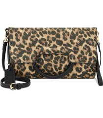 sole society adeli faux leather clutch - brown