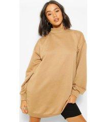 high neck oversized sweatshirt dress, camel