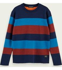 scotch & soda cotton-blend striped crewneck pullover