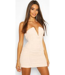 bandeau v bar mesh mini dress, nude