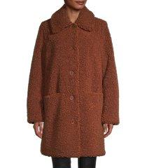 pure navy women's faux fur coat - brown - size m