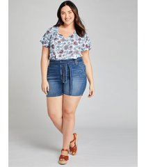 lane bryant women's signature fit denim short - belted 16 medium denim