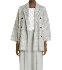 brunello cucinelli check double breasted coat, size medium in pebble at nordstrom