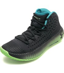 tenis basketball negro-azul-verde under armour hovr havoc 2