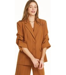 danielle bernstein pinstripe blazer with ruched sleeves, created for macy's
