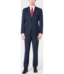 kenneth cole reaction men's ready flex slim-fit stretch navy plaid suit