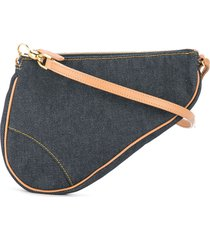 christian dior pre-owned saddle handbag - blue
