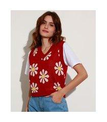 colete de tricô estampado de margaridas decote v mindset vermelho