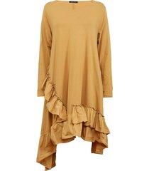 vestido lineatre liso mostaza - calce holgado