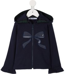 familiar bow embroidered hoodie - blue