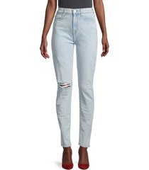 7 for all mankind women's high-rise ripped ankle skinny jeans - destroyed - size 31 (10)