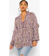 plus floral print ruffle detail plunge blouse, purple