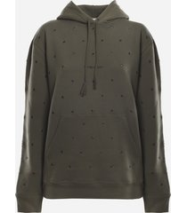 saint laurent cotton sweatshirt with all-over eyelets