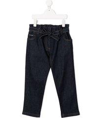 dolce & gabbana kids tie-waist straight-leg jeans - blue