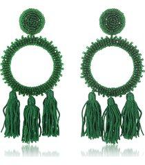 oscar de la renta designer earrings, large beaded circle with tassel earrings
