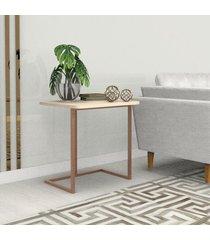 mesa lateral 45 cm bronze madeirado claro mdf lilies móveis