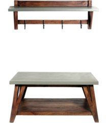 alaterre furniture brookside cement-top wood entryway coat hook and bench