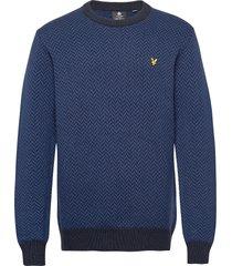 herringb jacquard knitted jumper gebreide trui met ronde kraag blauw lyle & scott
