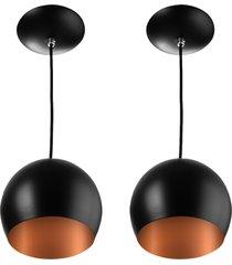 kit 2 lustres pendente bola mã©dia alumãnio 23cm preto/cobre - preto - dafiti
