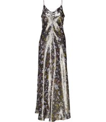 lurex silk maxi dress galajurk zwart ganni