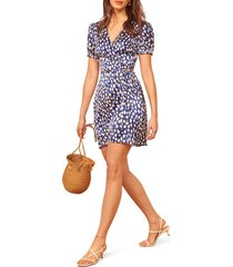 women's reformation honey wrap dress, size large - blue