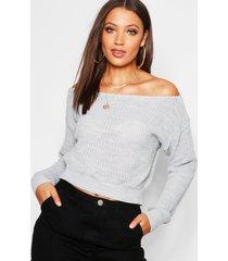 tall slash neck crop fisherman sweater, silver