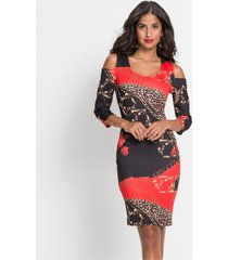 cold shoulder jurk met print