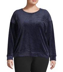 andrew marc women's plus long-sleeve velvet top - black - size 1x (14-16)
