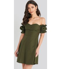 trendyol off shoulder button detailed mini dress - green