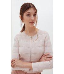 motivi cardigan corto in maglia ottoman donna rosa