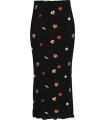 embroidered leaves midi skirt