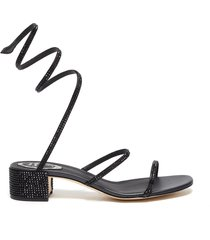 'cleo' chandelier strass coil anklet satin sandals