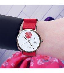 zegarek - japońskie żurawie 2 - czerwony, nylon