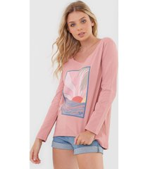 camiseta roxy montains rosa