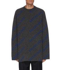 diagonal logo print sweater