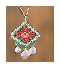 sterling silver pendant necklace, 'tangerine diamonds' (mexico)