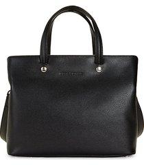debossed logo leather satchel