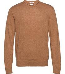crewneck sweater in linen-cotton stickad tröja m. rund krage brun gap