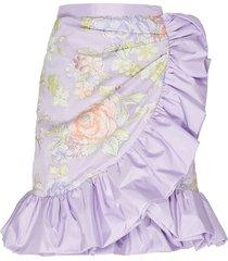 lilac floral print ruffle skirt