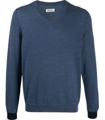 zadig & voltaire keddy contrasting-cuffs pullover - blue