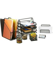 mind reader metal mesh 7 piece office desk organizer set, includes business card holder, 2 compartment folder/document organizer stand, two pencil and accessory cups, memo holder, letter holder, 3 tier document file tray