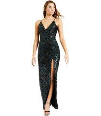 speechless juniors' high slit sequin gown