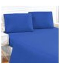 jogo de cama azul liso king size 4 peças tecido microfibra 170 fios