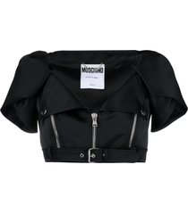 moschino buckle-detail cropped jacket - black