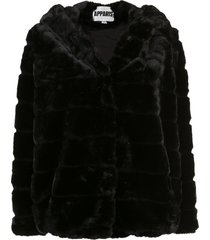 apparis goldie short faux-fur coat - black