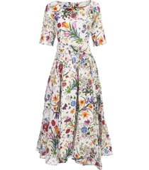 samantha sung aster linen midi dress s/s boat neck