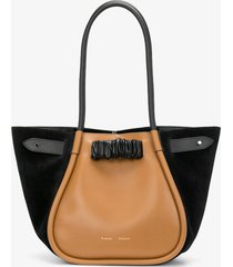 proenza schouler large felted ruched tote tapenade/darkgrey/brown one size