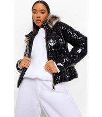 glanzende getailleerde gewatteerde jas met faux fur zoom, black
