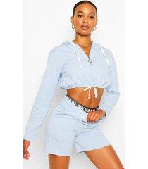 korte hoodie met halve rits en shortset, lichtblauw